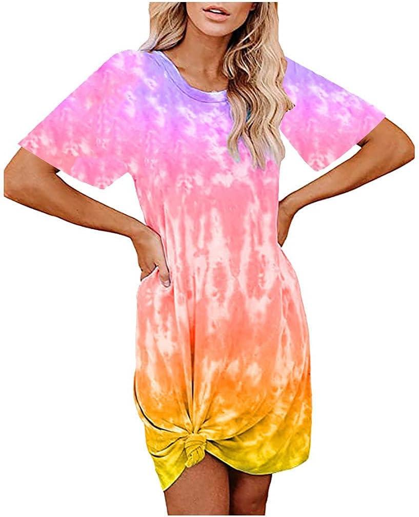 Casual Summer Dress for Women,Beach Round Neck Sleeveless Mini Tank Dress Loose Tie-Dye Print Shift Dress