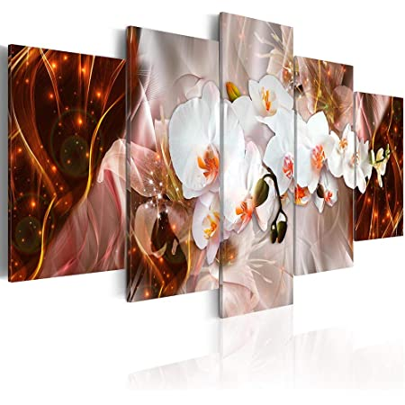 White Orchid Digital Abstract Flower 5 Pcs Canvas Wall Picture Poster Home Decor