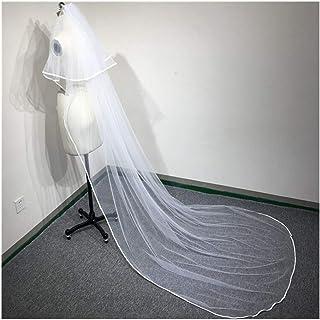 RLYBDL Wedding long veil 3 meters wedding veil bridal veils mesh veils for bride with comb (Color : Ivory)