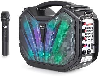 Pyle Portable Speaker Karaoke PA System - Bluetooth Flashing DJ Lights, Built-in Rechargeable Battery, Wireless Microphone...