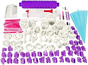 100pcs Fondant Cake Decorating Tools Cutter Cookie Bakeware Icing Decoration Kit with Flower Modelling Mold Mould Fondant ...