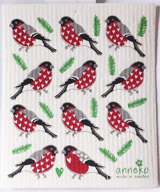 Anneko Swedish Dishcloth Dish Cloth Birds With Hearts