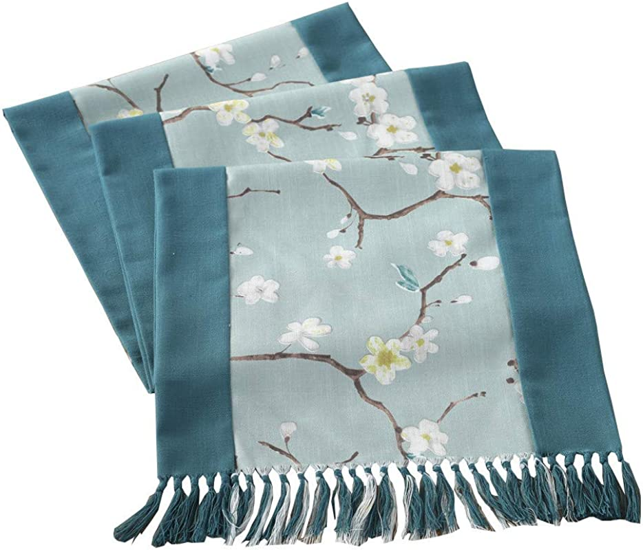 HomeyHo Dining Room Table Runner Flower Table Runner With Flowers Table Runner Farmhouse Style Elegant Decorative Table Runner With Tassels Dinner Room Table Runner Long 15 X 79 Inch Blue