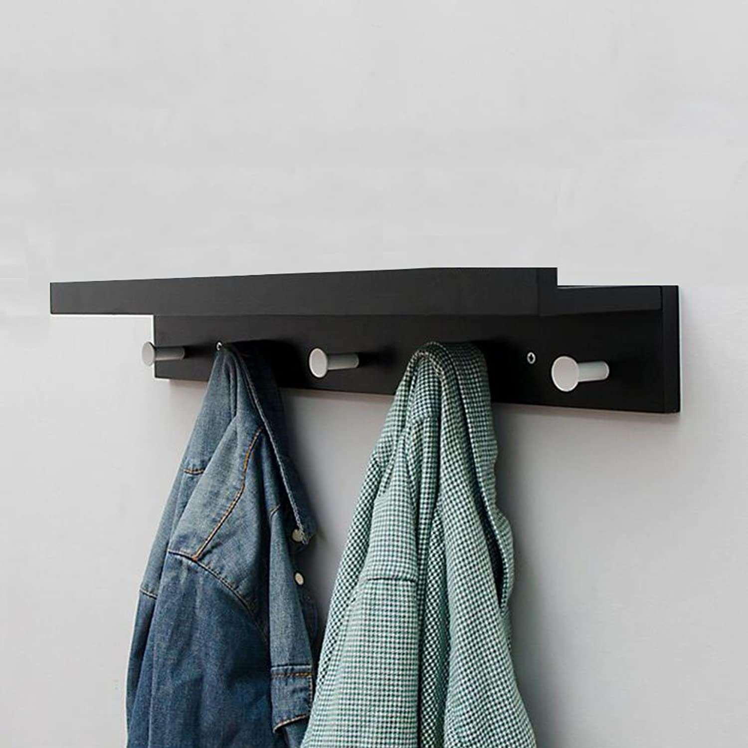 CJC Coat Rack Bamboo Wall Hanging Creative Decoration Place Things 5 Hooks Furniture Home Kitchen Hallway Multifunction (color   Black)