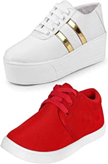 CAMFOOT Women's Multi-Coloured Canvas Casual Shoes/Sneakes/Moccasins - Pack of 2 (Combo-(2)-1062-993)