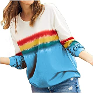 HEFASDM Women's Print Rainbow Long Sleeve Fall Winter Crewneck T-Shirt Top