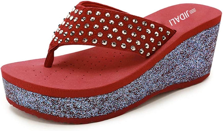 T-JULY Fashion Women Bling Flip Flop Rivets Star High Platform Wedges EVA Beach Outside Summer Slippers