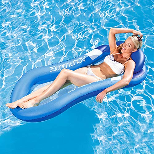 JIAMEI 1PACK Inflatable Float Hammock, Outdoor Beach Floating Loungers Rafts Backrest Recliner Water Sofa, Floating Row Middle Mesh Cool Design Water Bed, for Kids Adults Pool Party (Blue)