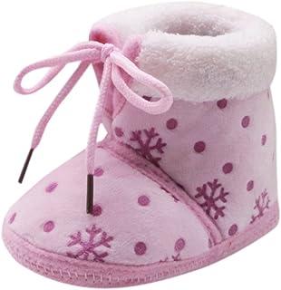Fossen Kids, Navidad Botas de Nieve Bebe Niña de Felpa, Zapatos Bebe Niño Recien Nacido Invierno Algodón Zapatos de Niño Primeros Pasos Antideslizante Caliente 0-18 meses