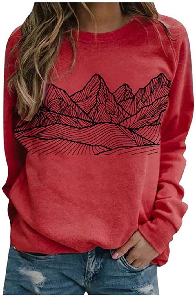 Long Sleeve Shirts for Women,Womens Crewneck Mountains Graphic Casual Loose Long Sleeve Shirts Pullover Blouse Top