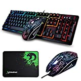 Lexonelec clavier Gaming Mouse Combo K13 filaire Rainbow LED rétroéclairé 104...