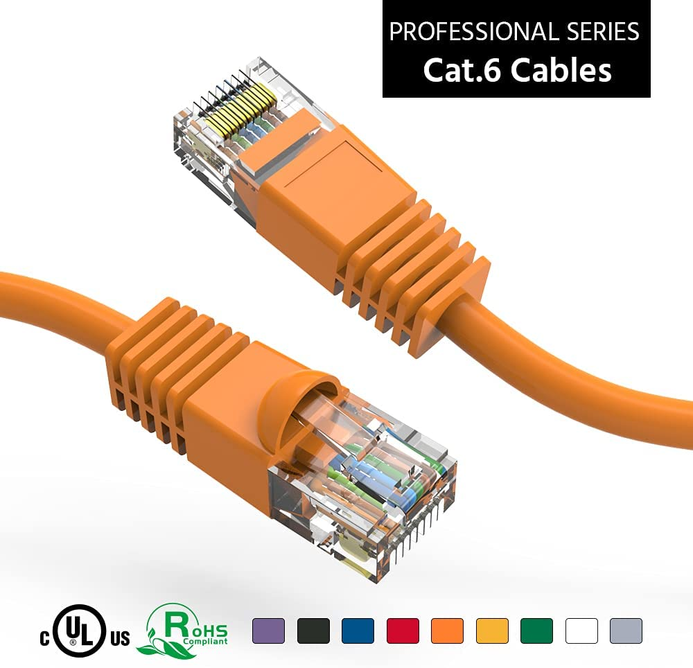 ACCL 100Ft Cat6 UTP outlet Ethernet Network Cable Pack 3 Superior Booted Orange