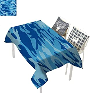 All of better Camouflage Holiday Tablecloth Abstract Camouflage Costume Concealment from The Enemy Hiding PatternPale Blue Navy Blue Rectangle Tablecloth W60 xL84 inch