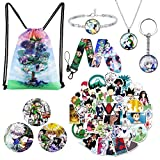 Anime Hunter x Hunter Merch, Hunter Drawstring Backpack, 50 Pieces Hunter x Hunter Stickers, 3 Button Pins, Lanyard, Keychain, Necklace and Bracelet, for Hunter x Hunter Fans Gift Set