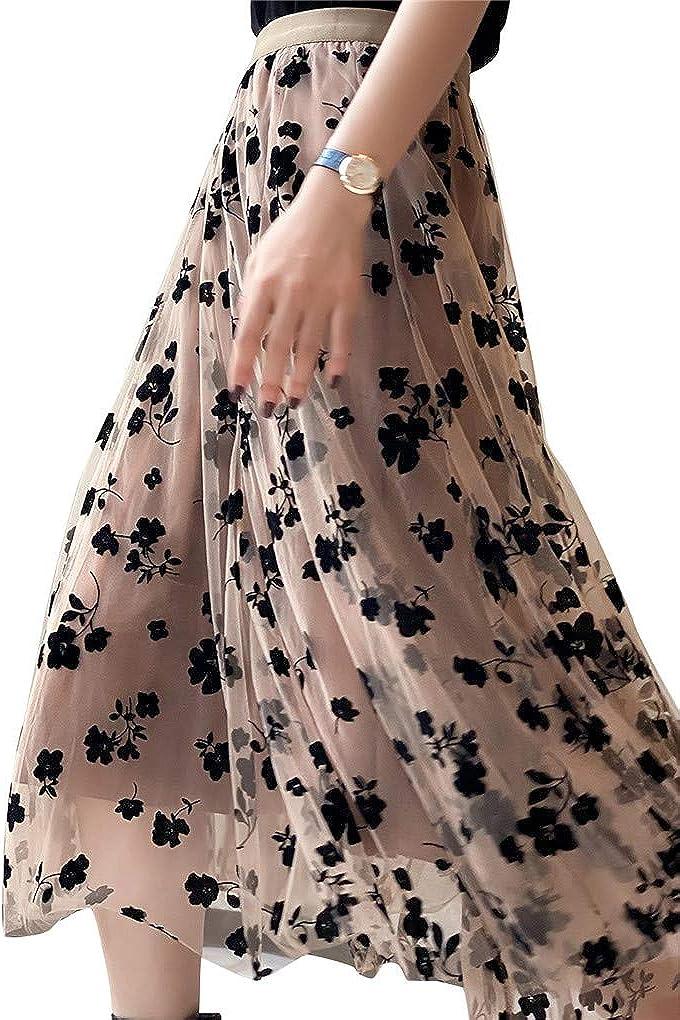 Womens Tulle Tutu Skirt Elastic High Waist Layered Skirt Floral Print Mesh Pleated Swing A-Line Midi Mini Skirt Dresses