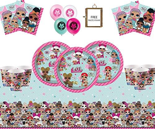 LOL Surprise Party Supplies Compleanno per Bambini Compleanno per 16 Ospiti- LOL Decorazioni per Feste con Cornice per Foto Gratis