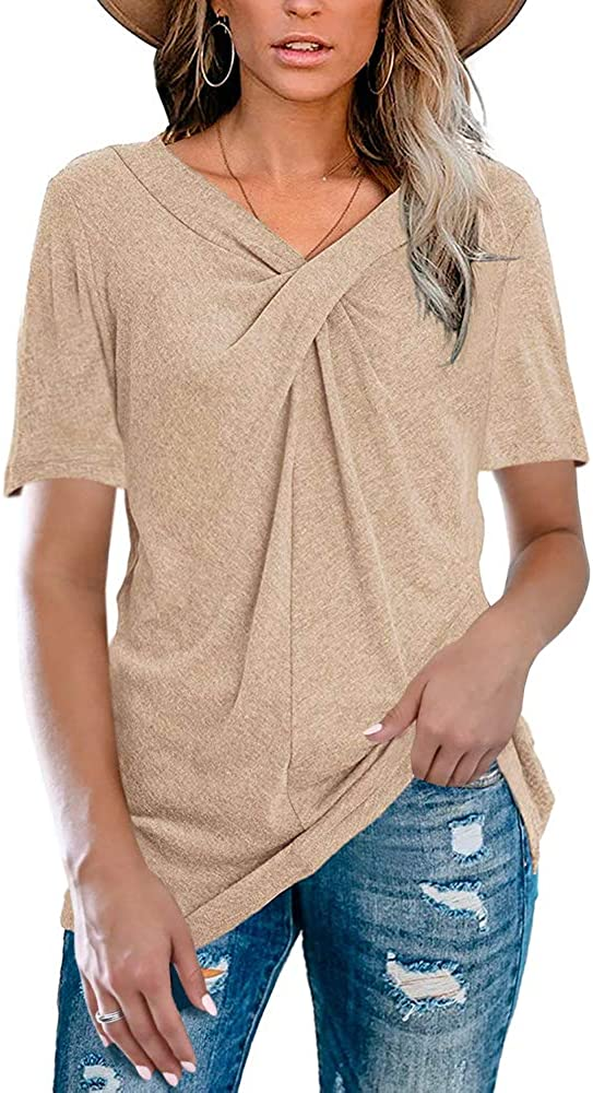 Womens V Neck Short Sleeve Summer T Shirt Cross Knot Loose Casual Tunic Tops