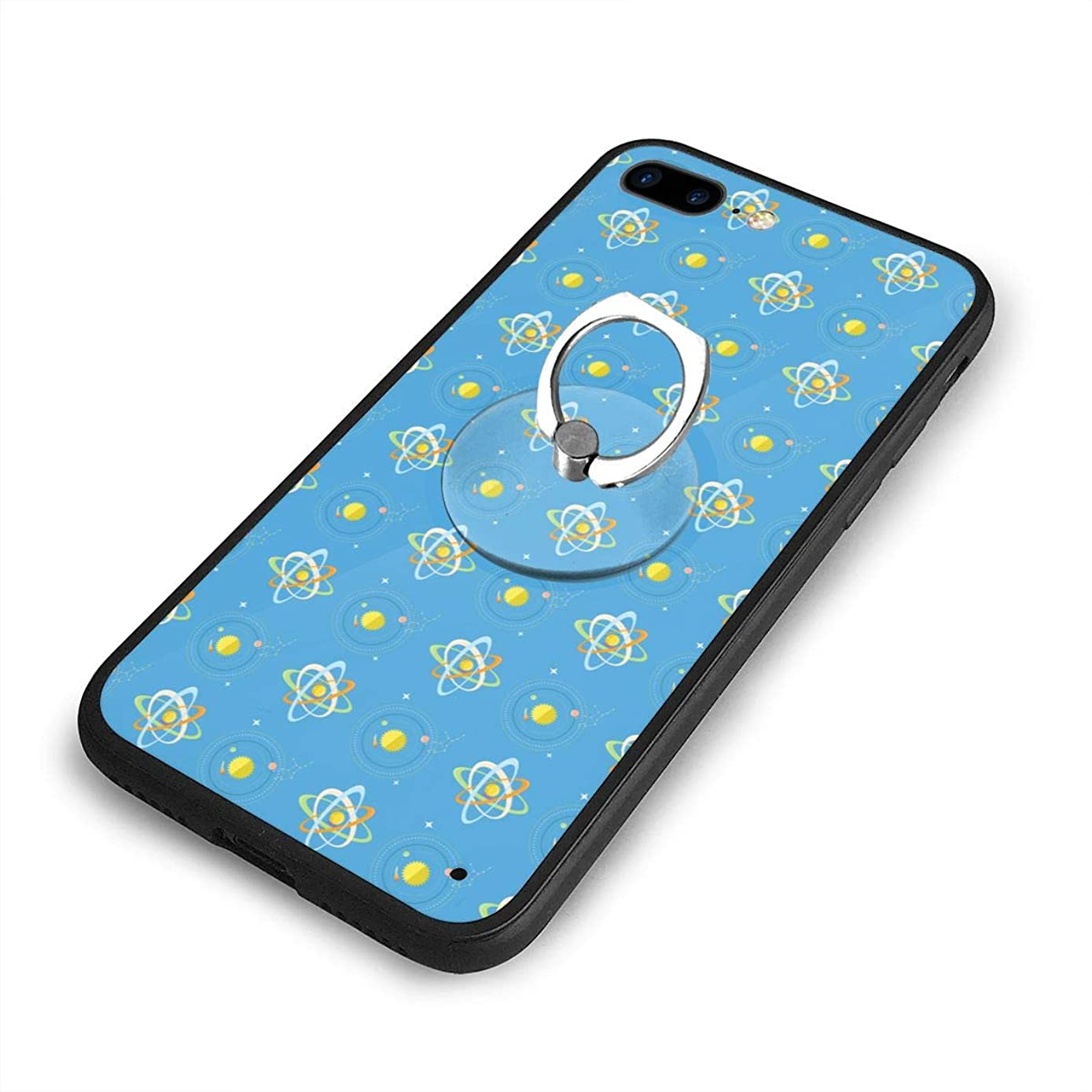 iPhone 7/8 Plus Case Bright Solar System and Planets Rotating Blue 360 Degree Rotating Ring Kickstand Case Shockproof Anti-Scratch Impact Protection Function for iPhone 7/8 Plus