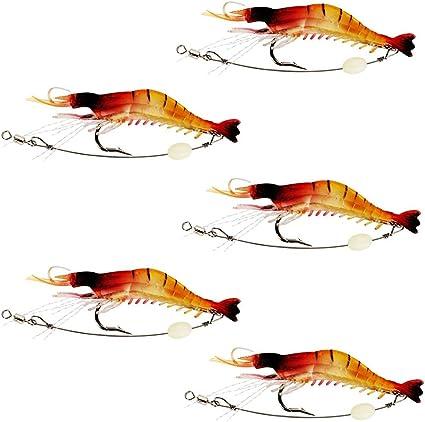 5 Pcs Fishing Rigs Soft Luminous Shrimp Lure Set Bionic Shrimp Bait Fishing Bait with Hooks for Outdoor Fishing Trout Bass Salmon