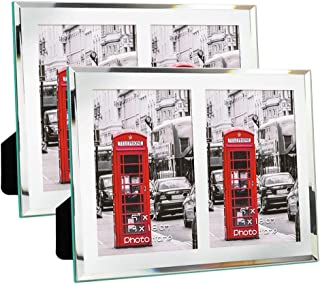 Schliersee 5x7 Glass Picture Frames Double for Tabletop Photo Frames 5x7 for Wedding Gifts 2 PCS