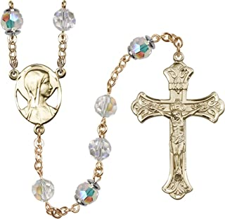 14k Yellow Gold Rosary 8mm Crystal Swarovski Capped Our Father Aurora Borealis Beads Crucifix sz 1 7/8 x 1 1/8. Novena Medal