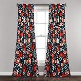 Lush Decor Poppy Garden Curtains Room Darkening Window Panel Set for Living, Dining, Bedroom, 84' L Pair, Navy