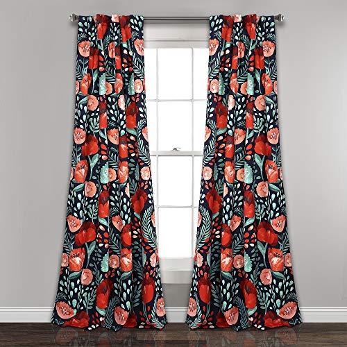 """Lush Decor Poppy Garden Curtains Room Darkening Window Panel Set for Living, Dining, Bedroom, 84"""" L Pair, Navy"""