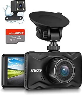 Dash Cam Front and Rear, 32GB TF Card Included IIWEY 1080P Dash Camera for Car Aluminum Alloy Body 3 Inch LCD Screen 170° ...
