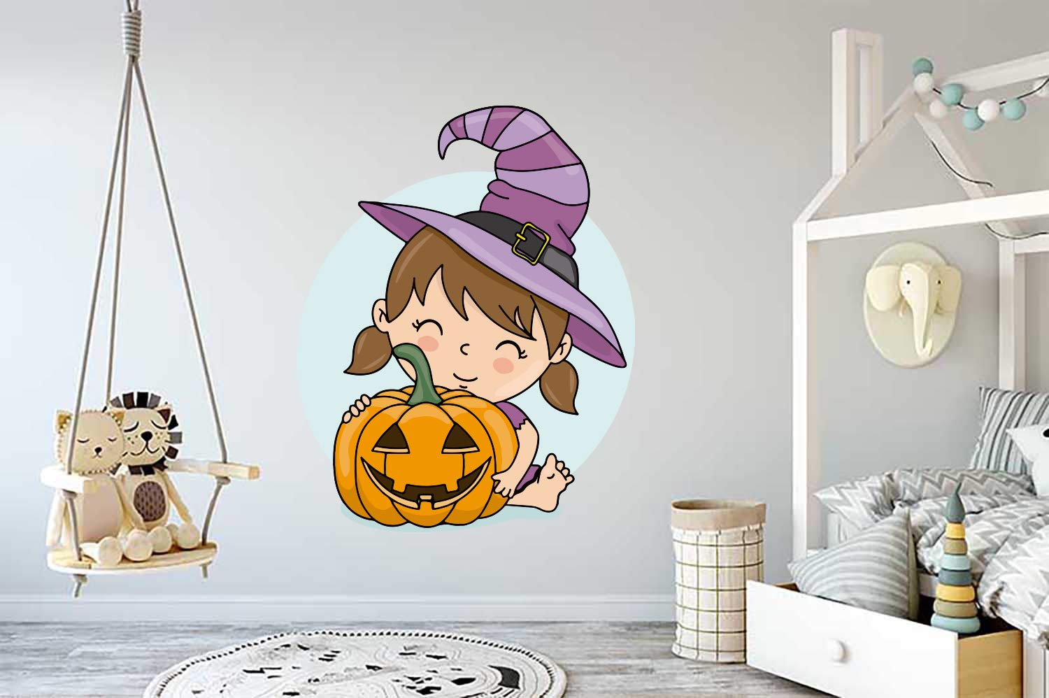 Now free shipping Happy Halloween Girl safety Pumpkin Kids Party Car Sticker M Wall Vinyl