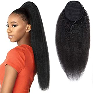 Kinky Straight Drawstring Ponytail Brazilian Virgin Hair Extension No Synthetic Kinky Straight Human Hair Ponytails Afro Yaki Hair for Black Women Ponytail 14 Inches
