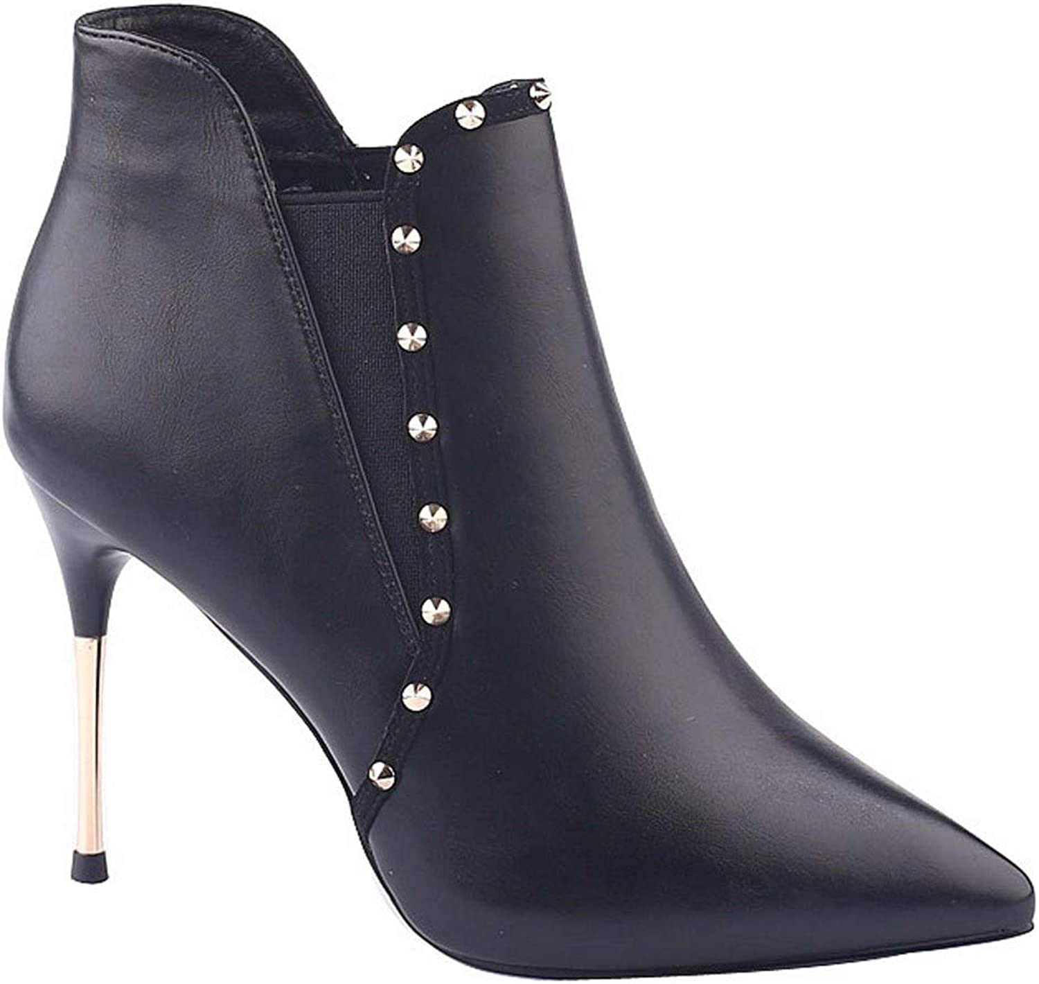 SFSYDDY Popular shoes Winter Black Short Boots with High 10Cm Sexy Rivets Thin Heels Martin Boots and Ankle Boots.