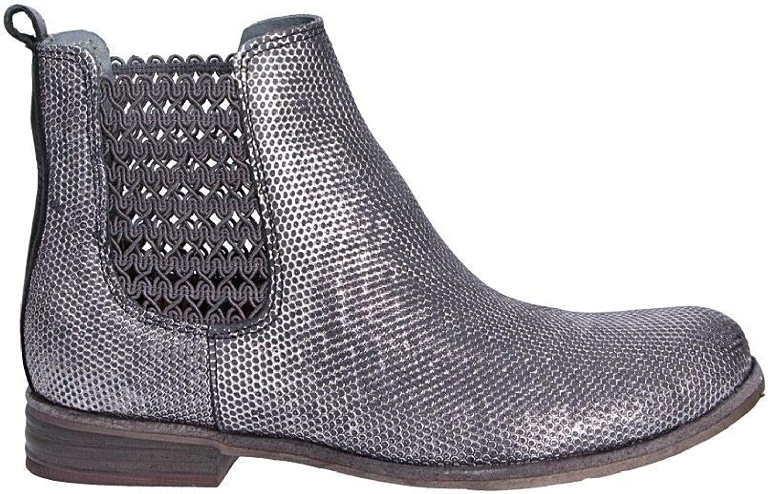 Felmini Women's A131SILVER Silver Leather Ankle Boots