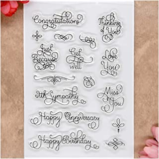Kwan Crafts Words Congratulations Love You Miss You Happy Anniversary Clear Stamps for Card Making Decoration and DIY Scrapbooking
