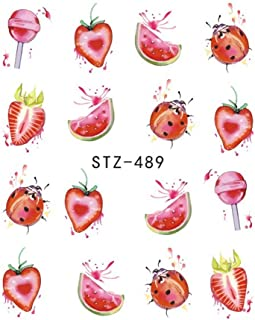 1PCS Strawberry Summer Fruit Drinking Stickers For Nails Manicure Nail Art Design Water Transfer Watermark Beauty Decals (STZ489)