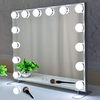 Hollywood Mirror Makeup Vanity Mirror with Lights,Large Dressing Illuminated Cosmetic Makeup Mirror with LED Bulbs.Aluminu...