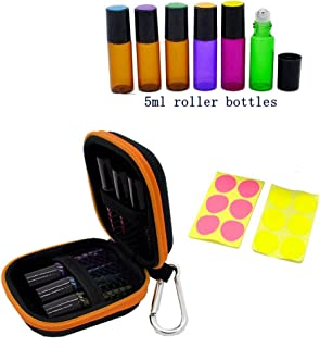 Stylish Essential Oil Key Chain Case with 6 Roll on Bottles(5ml), Blank Labels, Fits Easily in Purse or Makeup Bag, Carry Your Favorite Essential Oils Everywhere You Go, Orange