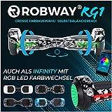 Robway RG1 Hoverboard - Das Original - Self Balance - 11 Farben - Bluetooth - 2 x 350 Watt Motoren - App (Black Skull)