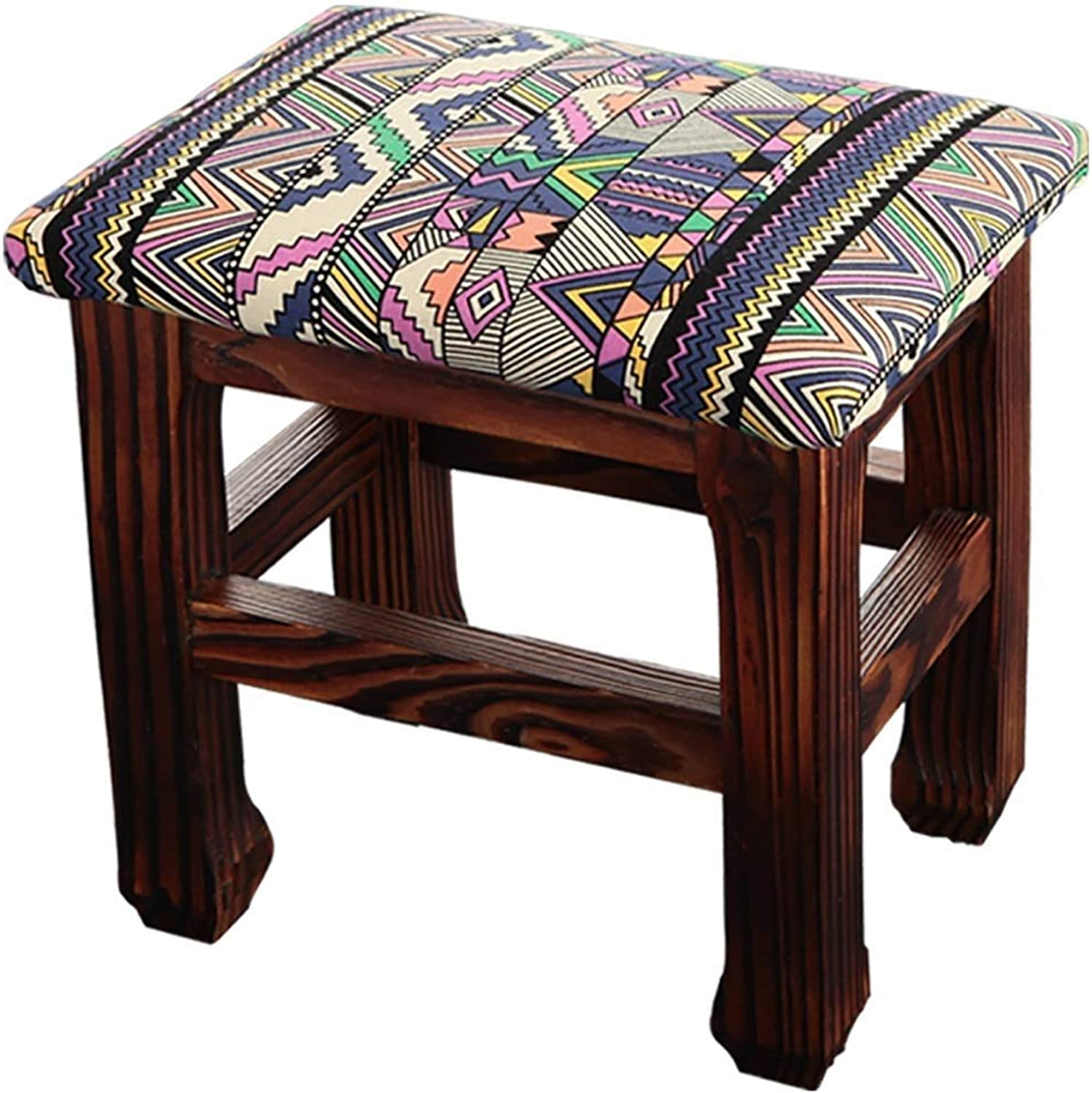 Footstool Convenient Solid Wood Cloth Wearing A shoes Bench Household, 2 Styles 2 Sizes GFMING (color   A, Size   26x20x25cm)