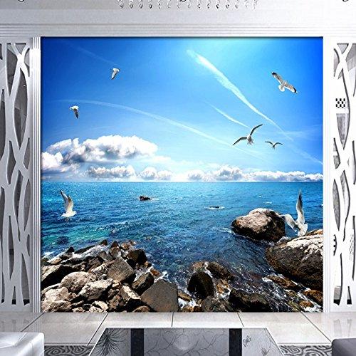 LHDLily 3D Papier peint Wallpaper Fresque Mural Ciel Bleu Nuages Blancs De La Mer Salle De Bains Toile Murale Chambre Hall Salon Stéréo 3D'Écran Personnalisé 200cmX150cm