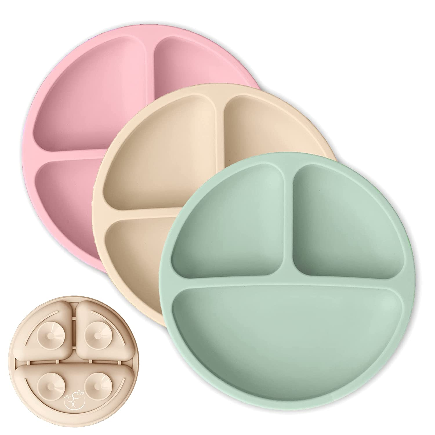 Hippypotamus Toddler Plates with Suction - Baby Plates - 100% Food-Grade Silicone Divided Plates - BPA Free - Microwave & Dishwasher Safe - Set of 3 (Sage/Blush/Nude)