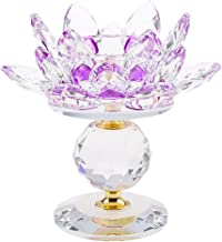 MagiDeal Crystal Lotus Flower Candle Holder Tealight Holder Candlestick Crafts Home Feng Shui Decor - Purple