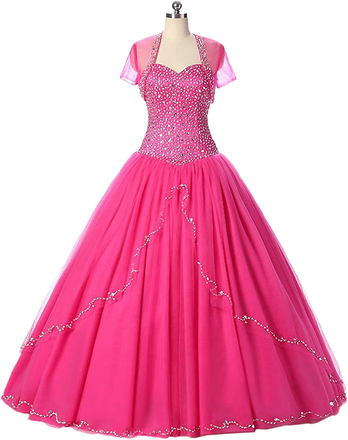 DINGZAN Puffy Beaded Tulle Ball Quinceanera Prom Dress with Jacket