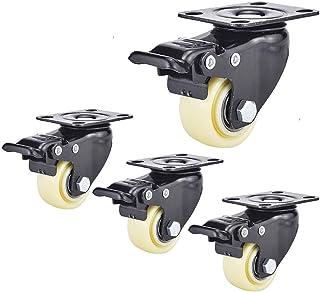 4 s wielen Rubber Trolley Meubels Caster Met Remmen 40/50mm Silent Swivel Casters Wielen Met Bovenplaat, Slijtvast (Kleur:...