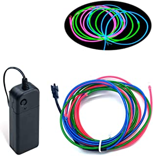 MaxLax EL Wire, 9ft Neon Wire Lights with 3 Colors Neon Wire Neon Glowing Strobing Electroluminescent Wire for Parties, Ha...