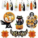 Queta Globos de decoración de Halloween, Globos de Colores, serpentinas en Espiral, arañas para Suministros para Fiestas de Halloween, Gran Gato Negro y Calabaza (Style-4)