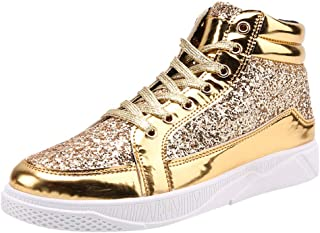JoCome-Shoes,Men's High-Top Casual Shoes Colorful Mirror Trend Sneakers Nightclubs Sequins Walking Shoes Casual Athletic Running Non-Slip Lightweight Outdoor Sneaker