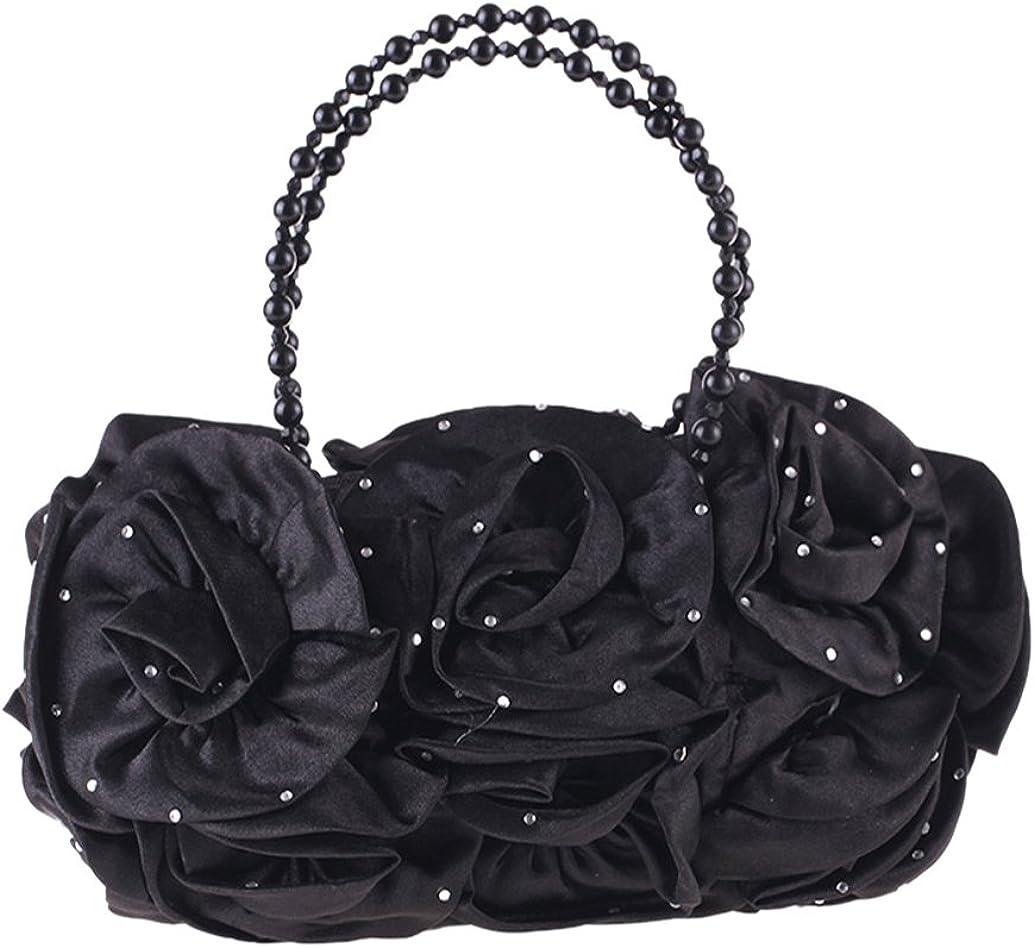 Tortor 1Bacha Women Girls Satin Rose Flower Pearl Handle Evening Bag Party Handbag