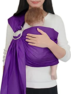 Vlokup Baby Sling Ring Sling Carrier Wrap | Extra Soft Lightweight Cotton Baby Slings for Infant, Toddler, Newborn and Kids | Great Gift, Lightly Padded Adjustable Nursing Cover Purple