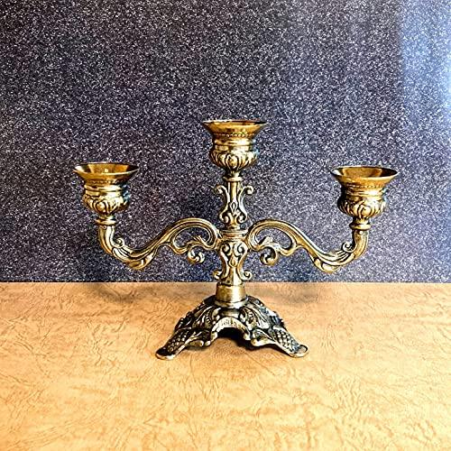 『イタリアザマック キャンドルホルダーL』 あくまでもインテリアオブジェとしてお考えください。 【枝つき燭台 蝋燭台 火立て ジランドール アンティーク風 インテリア雑貨 かわいい おしゃれ ろうそく立て キャンドルランプ ブラス 真鍮 西洋風】