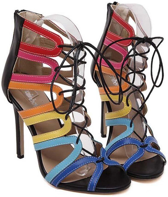 Onfly Gladiator Kühle Stiefel Ultra-high-Heeled Stilett Sandalen Dame Sexy Hohl Schnürsenkel Querriemen Peep Toe Reißverschluss Sandalen Party Schuhe Römische Schuhe Abendschuhe Eu Größe 35-40  | Discount  | Schönes Ausseh